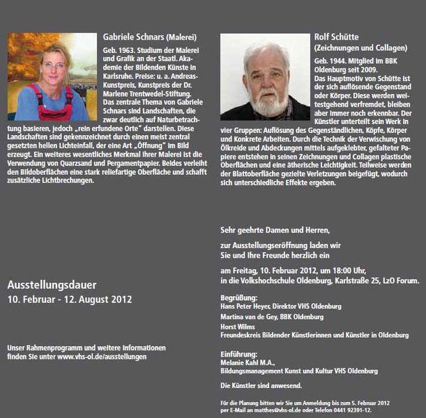 VHS Ausstellung Gabriele Schnars – Rolf Schütte