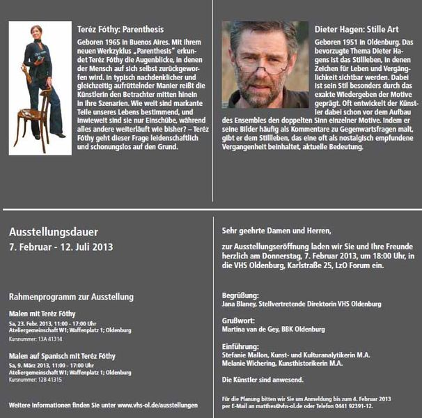 VHS Ausstellung Terèz Fòthy – Dieter Hagen