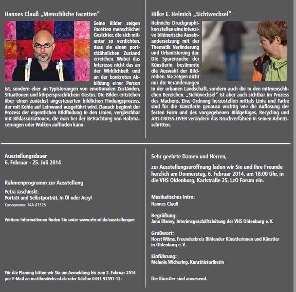 VHS Ausstellung Hannes Clauß – Hilke E. Helmich