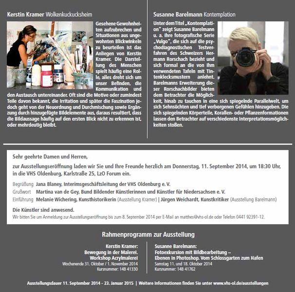 VHS Ausstellung Kerstin Kramer – Susanne Barelmann