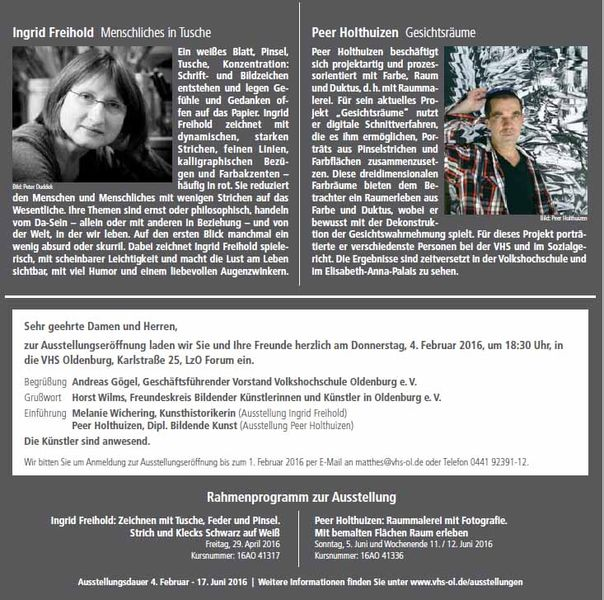 VHS Ausstellung Ingrid Freihold  – Peer Holthuizen