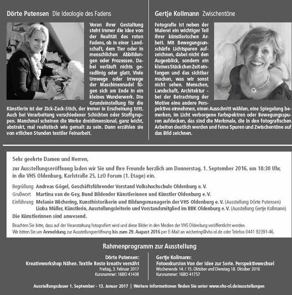 VHS Ausstellung Dörte Putensen – Gertje Kollmann